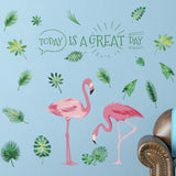 Pink Flamingo Leaf Decorative Wall Stickers - The Flamingo Shop