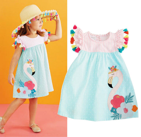 Girls Embroidered Flamingo Dress - The Flamingo Shop