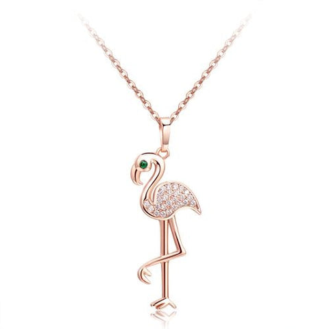 Rose Gold or Silver Crystal Zircon Flamingo Charm Necklace - The Flamingo Shop