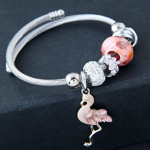 Crystal Charm Flamingo Bangle Bracelet - The Flamingo Shop
