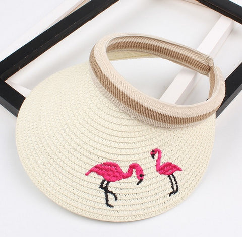 Children's Flamingos Straw Visor - The Flamingo Shop