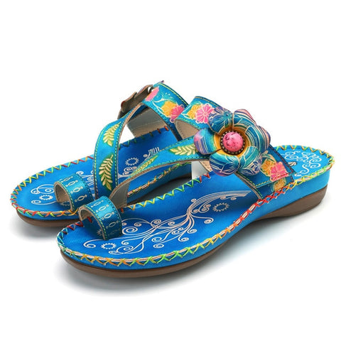 Blue Bohemian Genuine Leather Flip Flops Handmade with Flower - The Flamingo Shop