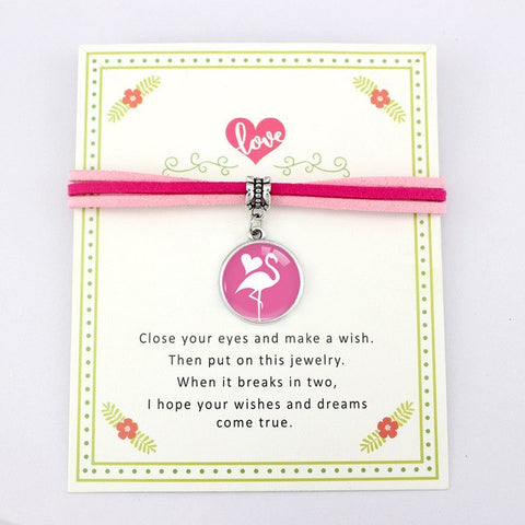Friendship Make a Wish Flamingo Charm Bracelet - The Flamingo Shop