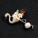 Crystal Cubic Zirconia Flamingo Brooch - The Flamingo Shop