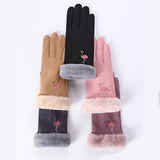 Women's Winter Flamingo Embroidery Gloves