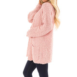 Pink Womens Fleece Long Sleeve Open Front with Pockets Woolen Cardigan