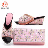 Italian Pink Shoes with Matching Bags Set Decorated with Stone - The Flamingo Shop