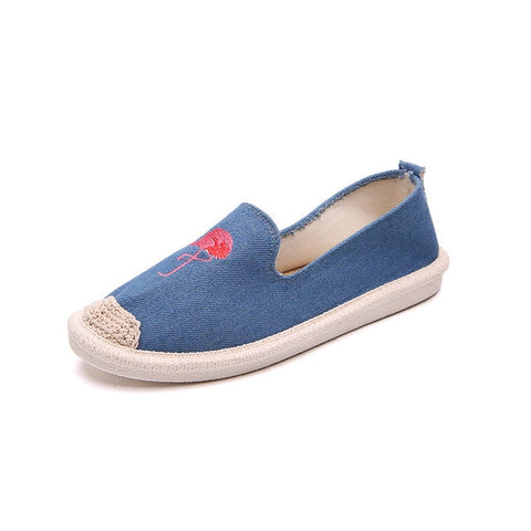 Womens Embroidered Espadrilles Flamingo Shoes - The Flamingo Shop