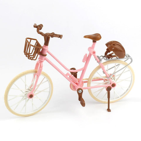 Pink Bike with Brown Plastic Helmet for Dolls - The Flamingo Shop