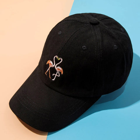 Cotton Embroidered Flamingos Unisex Hats - The Flamingo Shop