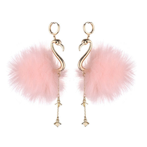Fluffy Flamingo Earrings - The Flamingo Shop
