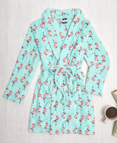 Plush Flamingo Santa Print Robes