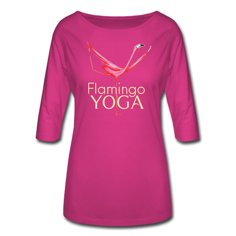Flamingo Yoga Women's 3/4 Sleeve Shirt - fuchsia