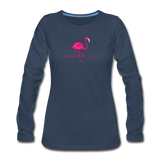 Flamingo Life Women's Long Sleeve T-Shirt - navy