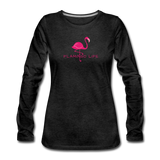 Flamingo Life Women's Long Sleeve T-Shirt - charcoal gray