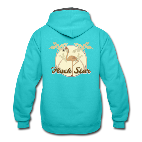 Mens Flamingo Flock Star Contrast Hoodie - The Flamingo Shop