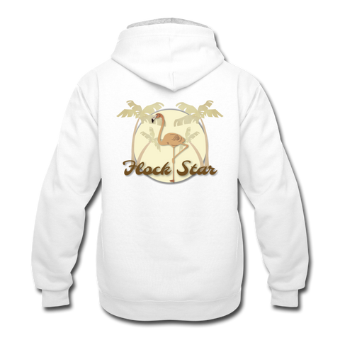 Mens Flamingo Flock Star Contrast Hoodie - white/gray