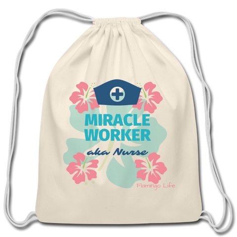 Miracle Worker Cotton Drawstring Bag - natural