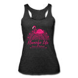 Flamingo Life Women's Tri-Blend Racerback Tank - heather black