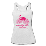 Flamingo Life Women's Tri-Blend Racerback Tank - heather white