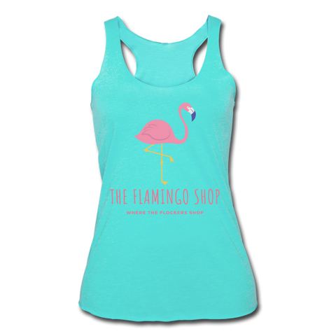 The Flamingo Shop Women's Tri-Blend Racerback Tank - turquoise