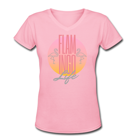 Flamingo Life Glam Women's V-Neck T-Shirt - pink