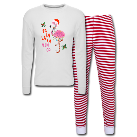 Fa La La La Mingo Flamingo Unisex Pajama Set - white/red stripe