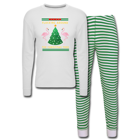 Flocking Around The Christmas Tree Unisex Pajama Set - white/green stripe
