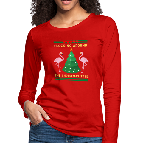 Women's Flocking Around The Christmas Tree Long Sleeve T-Shirt - red