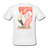 Flamingo Life Stay Salty Men's Moisture Wicking Performance T-Shirt - white