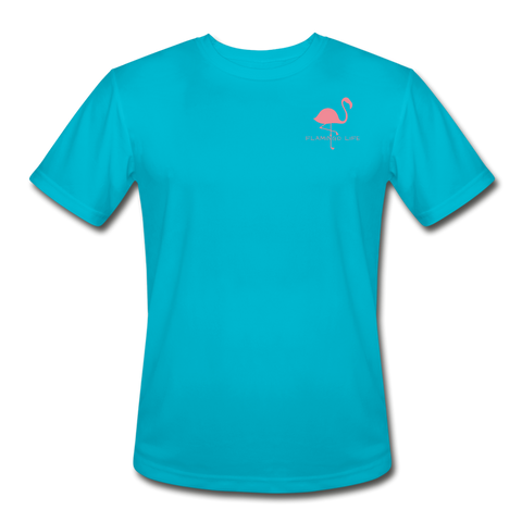 Flamingo Life Stay Salty Men's Moisture Wicking Performance T-Shirt - turquoise