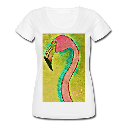 Flamingo Life® Women's Scoop Neck T-Shirt - white