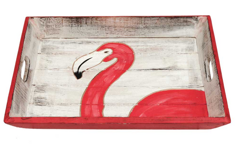Wooden Distressed Pink Flamingo Tray