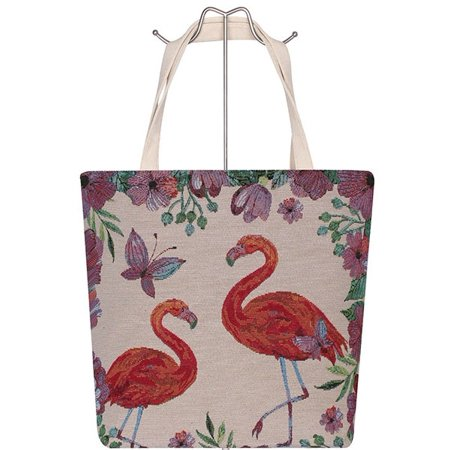 Floral Flamingo Beach Canvas Tote Shoulder Bag Strap Handle - The Flamingo Shop