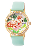Bertha Flamingo Mother-of-Pearl Leather-Band Watch - The Flamingo Shop