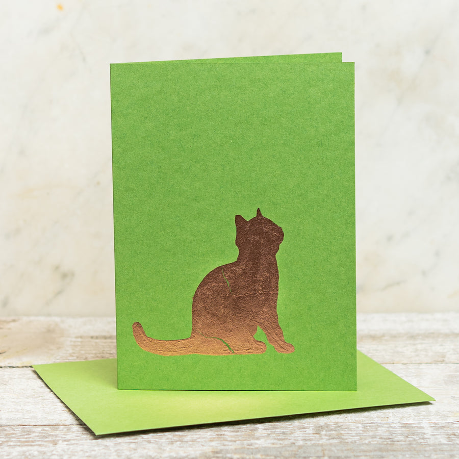 Copper Foil Kitten Greeting Card