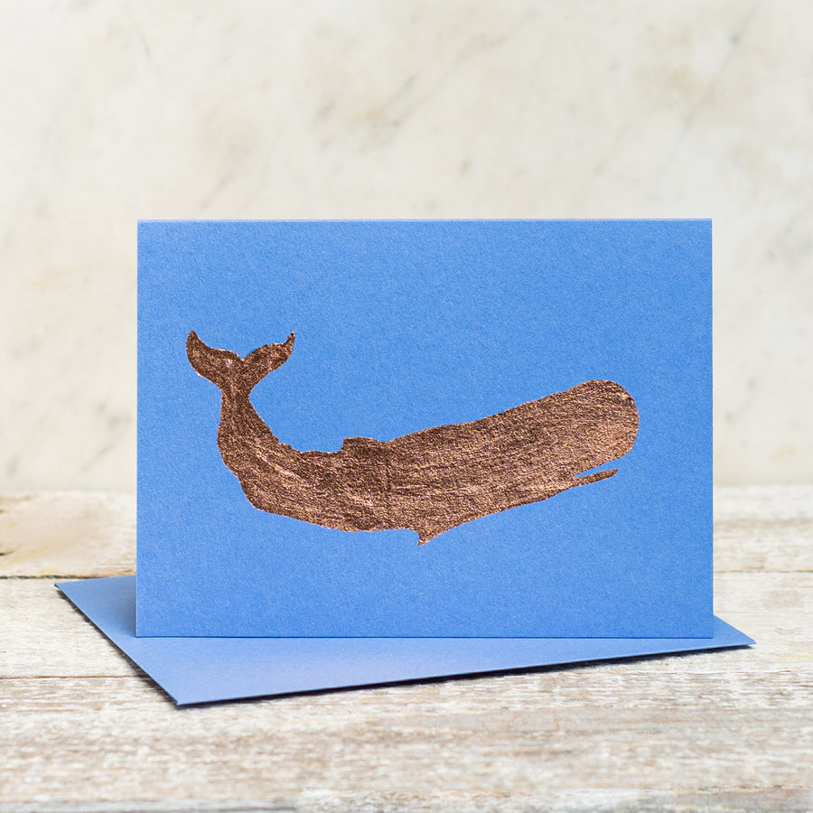 Copper Foil Whale Greeting Card