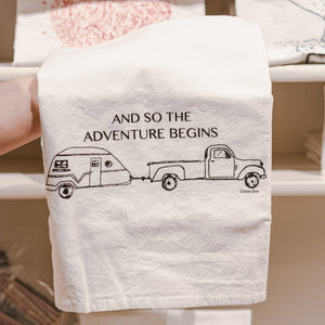 Adventure Begins Cotton Tea Kitchen Towel