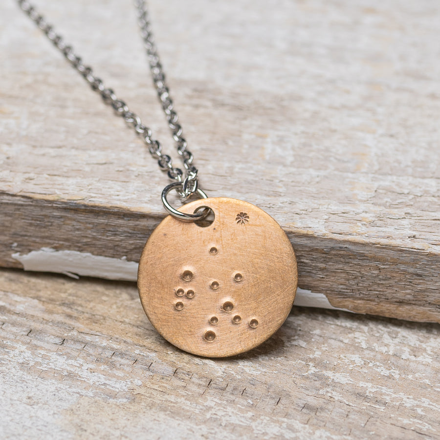 "Aquarius Zodiac Constellation Hand Stamped Repurposed Brass Necklace on 20"" Chain"
