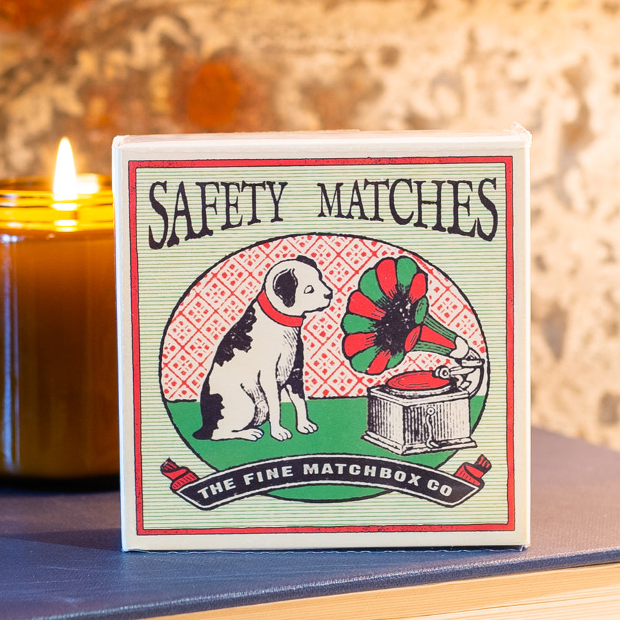 125 Safety Matches With Vintage Dog & Record Player Graphic By Archivist #11