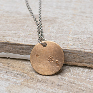 "Aries Zodiac Constellation Hand Stamped Repurposed Brass Necklace on 20"" chain"