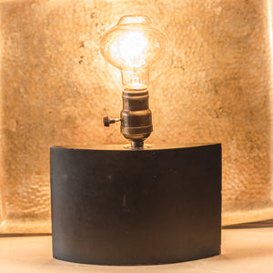 Black Wood Half Circle Table Lamp with Incandescent Bulb By Jenny K