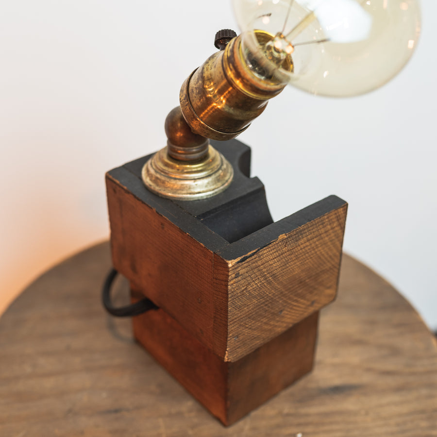 Black Wood Foundry Pattern Desk Lamp