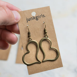 Brass Colored Heart Charm Earrings Nickel Free with Rubber Backing