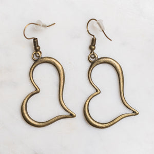 Brass Colored Heart Charm Earrings Nickel Free with Rubber Backing - Junk Girls