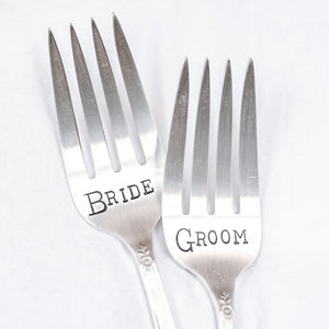 Bride and Groom - Hand Stamped Silver Plate Fork Set