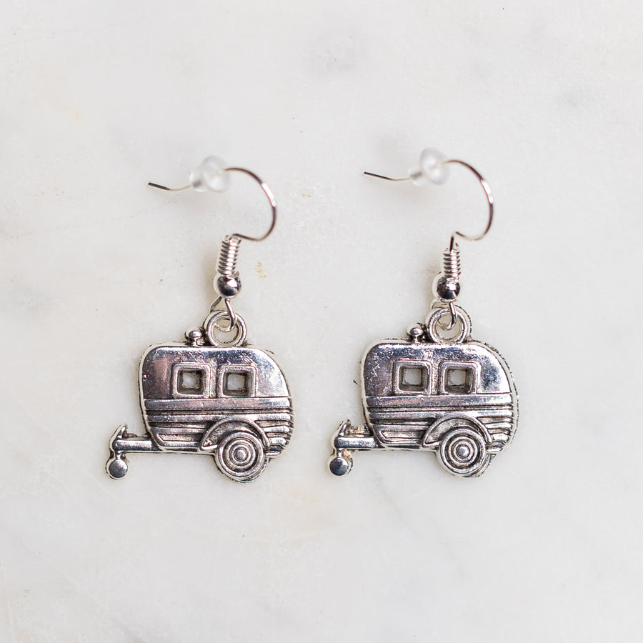 Camper Trailer Charm Earrings Nickel Free with Rubber Backing