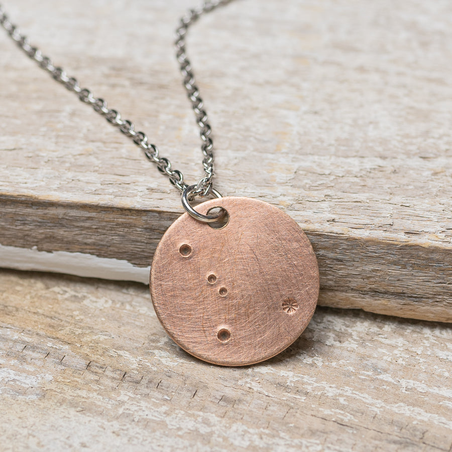 "Cancer Zodiac Constellation Hand Stamped Repurposed Brass Necklace on 20"" chain"