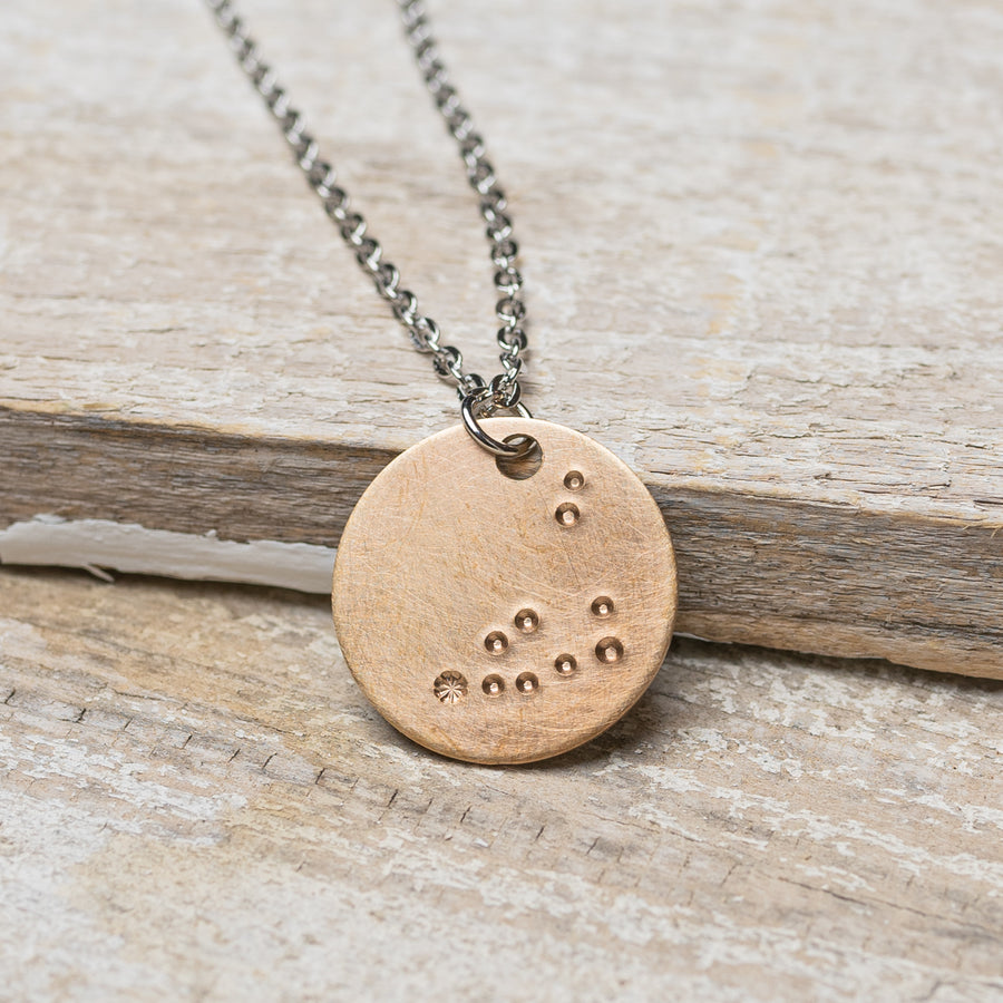 "Capricorn Zodiac Constellation Hand Stamped Repurposed Brass Necklace on 20"" chain"