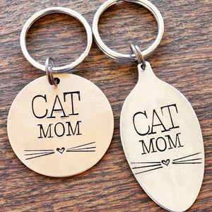 Cat Mom Key Ring Necklace Hand Stamped Customizable